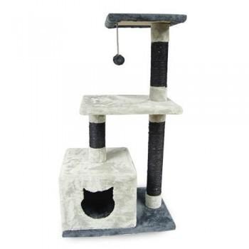 Rascador para gato dos alturas con casita