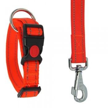Collar para perro reflectante naranja